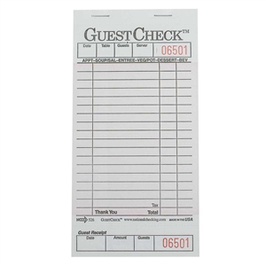National Checking Guest Check Board Pink One Part 18 Line