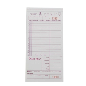 National Checking Guest Check Carbonless Maroon 15 Lines - 4.2 in. x 8.5 in.