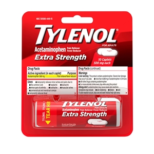 Tylenol Extra Strength Vial Blister