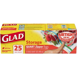 Glad Food Storage Zipper Quart 25 Count