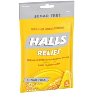 Halls Sugar Free Honey Lemon 25 Piece Bag - 77.5 Gram