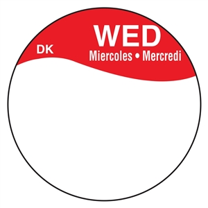 Daymark Circles Bilingual Boxed Wednesday Label - 1 in.