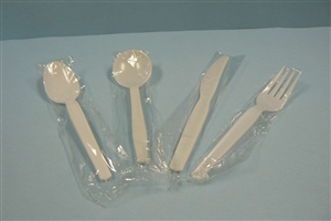 Goldmax Cutlery Medium Weight Wrapped Polystyrene Fork White