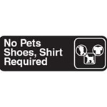 Traex White Imprint No Pets Shoes Shirt Sign