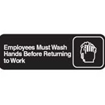 Traex White Imprint Employees Must Wash Hands Sign