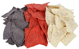 Tortilla Chips Pre-Cut Unfried Tri-Color 4 Cuts - 10 Lb.