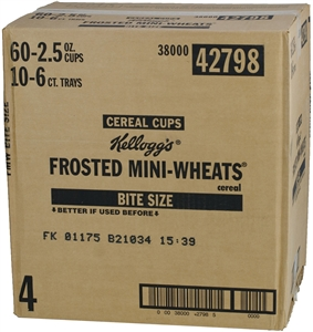 Kelloggs Frosted Mini Wheats Bite Size Cereal In a Cup - 2.5 Oz.