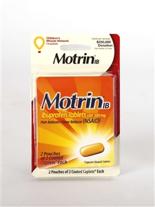 Convenience Valet Motrin 4 S Caplets and Paper Cup