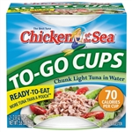 Chicken Of The Sea Chunk Light Tuna In Water Cup With Peel and Serve Foil Lid 2.8 Oz.