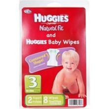 Convenience Valet Huggies Diapers Kit Medium and 8 Baby Wipes