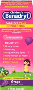 Benadryl Childrens D Pe Allergy Sinus Liquid - 4 Fl. Oz.