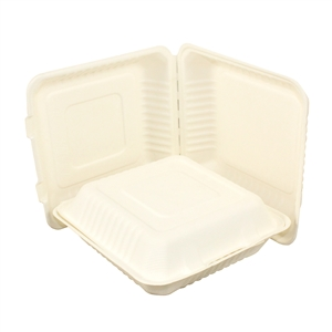 Atlantic Mills Sugarcane Hinged Lid 9 in. Container