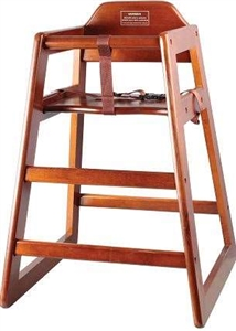 Winco Non-Assembled Walnut Stacking Hi-Chair