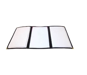 Winco Triple Fold Menu Cover Black - 12 in. x 9.5 in.