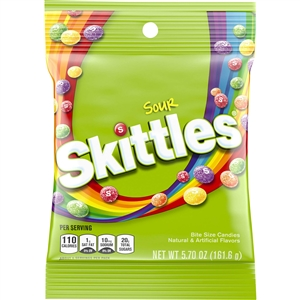 Wrigleys Skittles Bite Size Sour Candy Peg Pack - 162 Gm.
