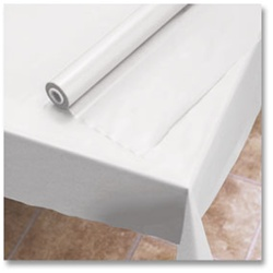 Hoffmaster Plastic Roll Table Cover White - 40 in. x 300 Ft.