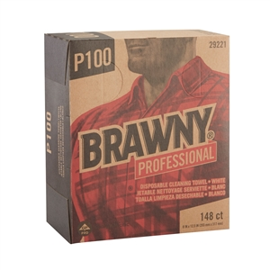 Brawny Industrial White Light Duty 2-Ply Paper Wipers - 8 in. x 12.5 in.