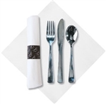 FashnPoint CaterWrap Pre-rolled Dinner Napkin and Heavyweight Cutlery Kit