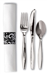 Cutlery K-F-S Napkin White Plastic Metallic Wrapped with Band Kit