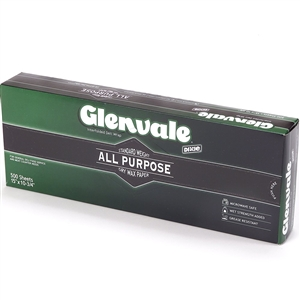 Glenvale Interfolded Medium Weight Dry Waxed Deli Papers - 10 in. x 10.75 in.