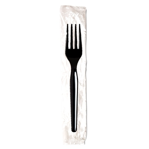 Dixie Medium Weight Individually Wrapped Black Polystyrene Fork - 6.5 in.