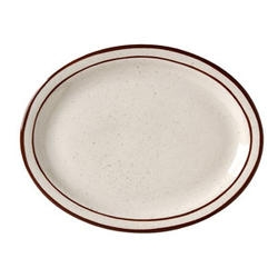 Caravan Brown Speckled Double Band Narrow Rim Platter - 11.5 Oz.
