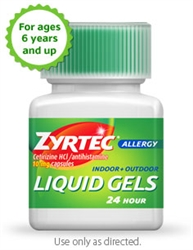 Zyrtec 24 Hour Allergy Liquid Gel - 10 Mg.