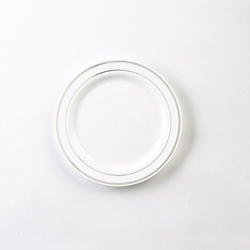 Glimmerware Plate Dessert White And Silver - 6 in.