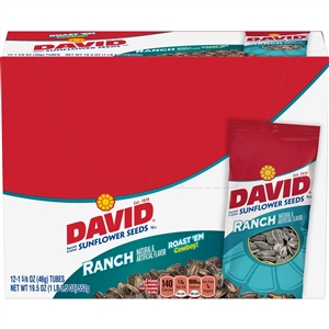 David Sunflower Seeds In Shell Ranch Tubes Unpriced - 1.62 Oz.