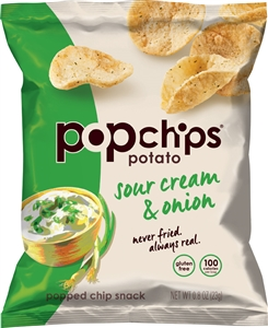 Sour Cream and Onion All Natural Single Serve Popchips - 0.8 Oz.