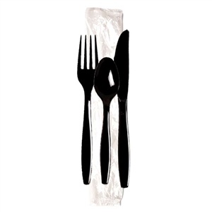 Heavy Weight Fork Knife Teaspoon Wrapped Polystyrene Cutlery Kit