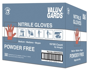 White Valugards Nitrile Powder Free Gloves - Medium