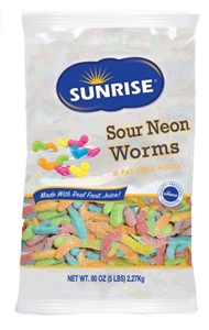 Gummi Worms Sour Neon - 5 Lb.