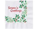 Holiday Holly Beverage Napkin - 10 in. x 10 in.