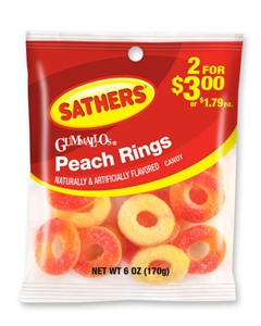 Candy Gummallos Peach Rings - 6 Oz.