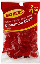Sathers Candy Cinnamon Discs 2 For Dollar 1.50 - 3.6 oz.