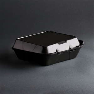 Medium 3 Compartment Snap It Foam Hinged Container Black - 8.25 in. X 8 in.