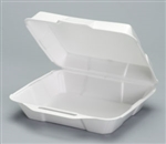 Hi-Volume Hinged White Medium Dinner Container - 8.88 in. x 9.25 in.