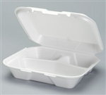 Snap-It Foam Small Three Compartment Container White