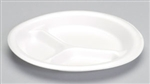 Celebrity White Three Compartment Plate - 9 in.