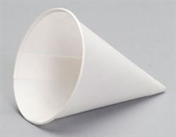 Rolled Rim Paper White Cone Cup - 5 oz.