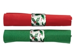 Holly CaterWrap Pre rolled Red and Jade Napkins and Clear Cutlery