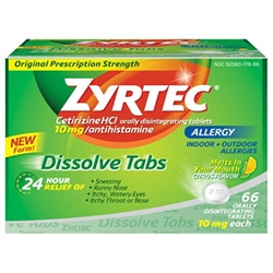 Zyrtec Allergy Dissolve Citrus Tablet Bulk Case of 576