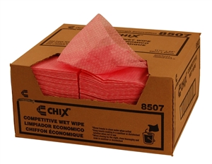 Chix Pink Wavy Line Quarter Fold Wet Wipes - 11.5 in. x 24 in.
