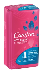 Carefree Body Shape Extra Long Unscented Pantiliners