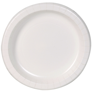 Dixie Basic White Paper Plates with Printed Inner Poly for Resale - 8.5 in.