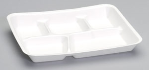 5 Compartment School and Cafeteria Tray White
