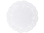 Eight Round French Lace Paper White Doily