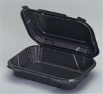 Rectangular Hinged 1 Compartment Black Container