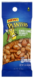 Planters Chili Lime Peanut Snack Nuts Tube - 2.25 Oz.